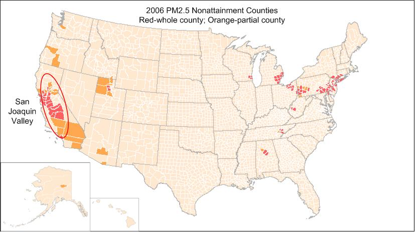 Pm2 5 Nonattainment Us Counties In 2006