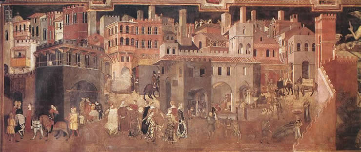 Ambrogio Lorenzetti, Effects of Good Government on the City (Fresco Palazzo Publico, Siena, 1338-40)