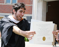 Showing off a diploma