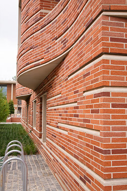 red brick and limestone