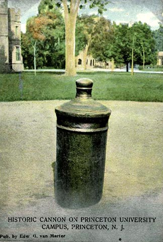 July 4 historic postcard of cannon on Cannon Green