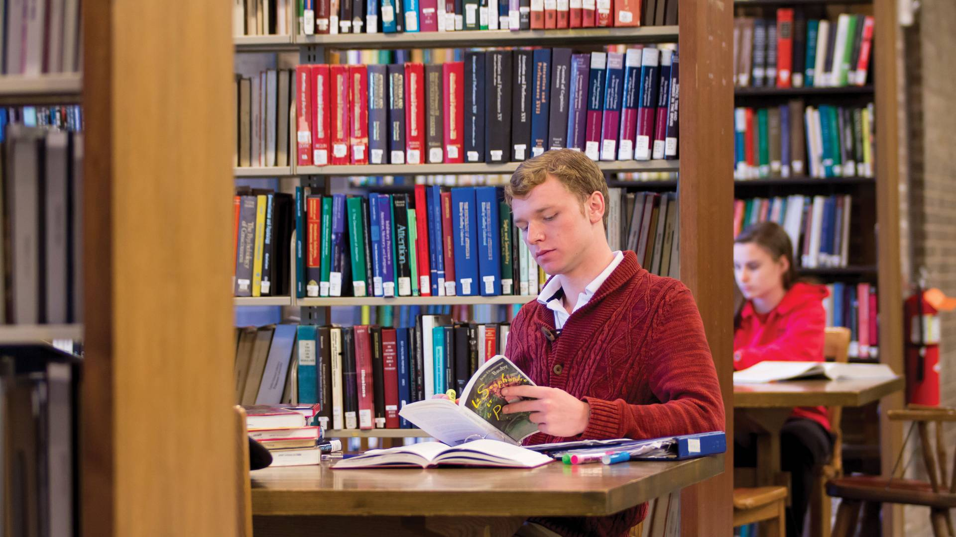 Student works in library