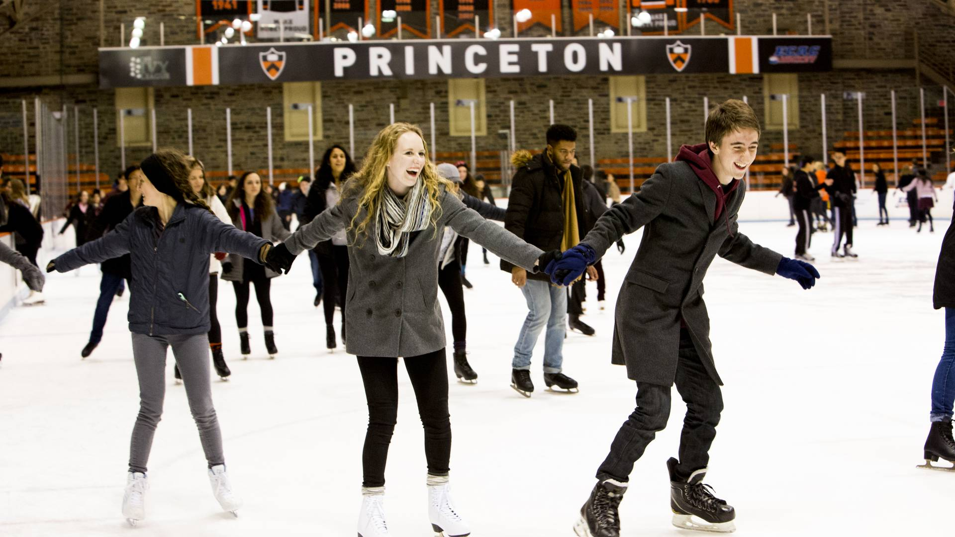 Students skating at Baker Rink