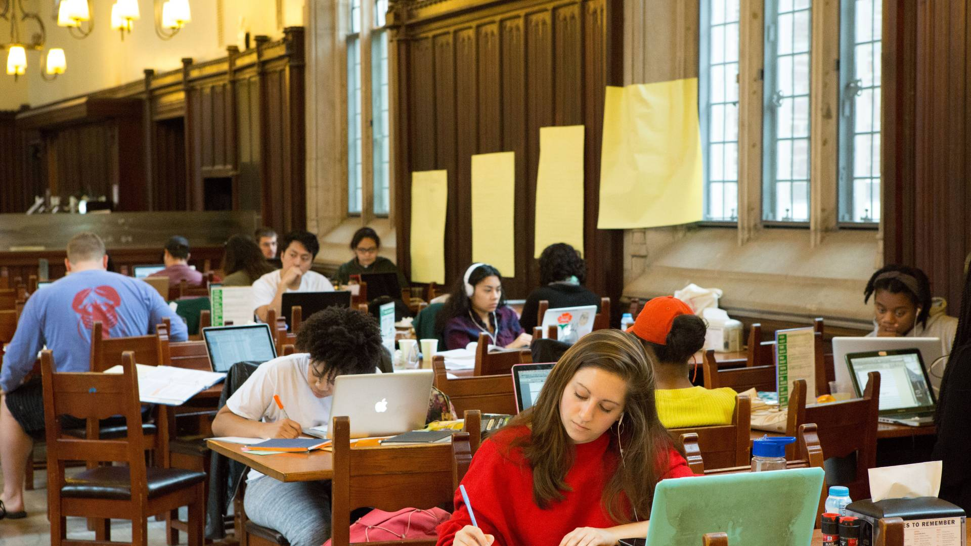 Students studying at Rockefeller College