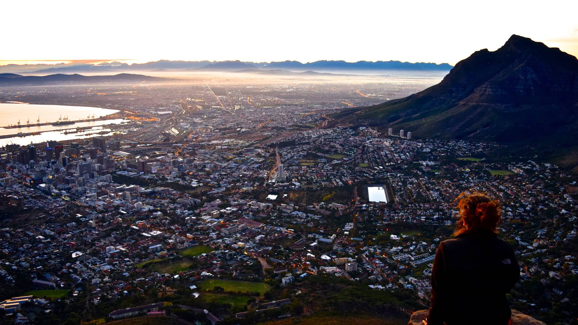 Student overlooks a city in South Africa