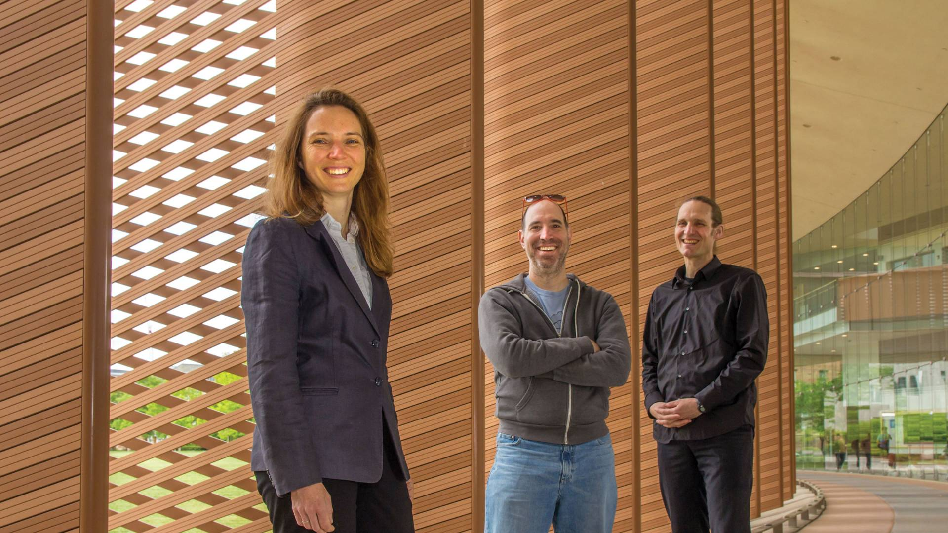 From left to right, Sigrid Adriaenssens of civil and environmental engineering, Adam Finkelstein of computer science and Axel Kilian of architecture are collaborating on novel ways to control the interaction of light and buildings to save energy.
