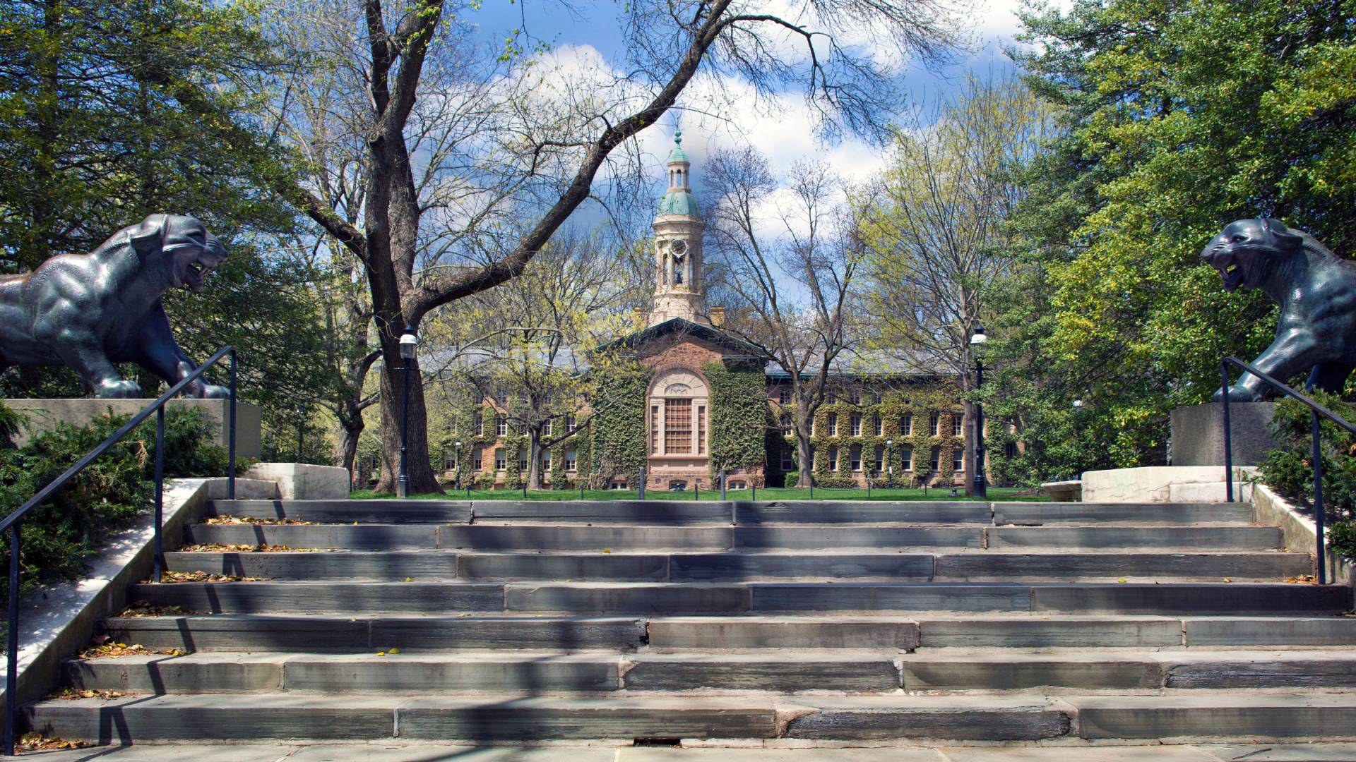 Stairs lead to area behind Nassau Hall building