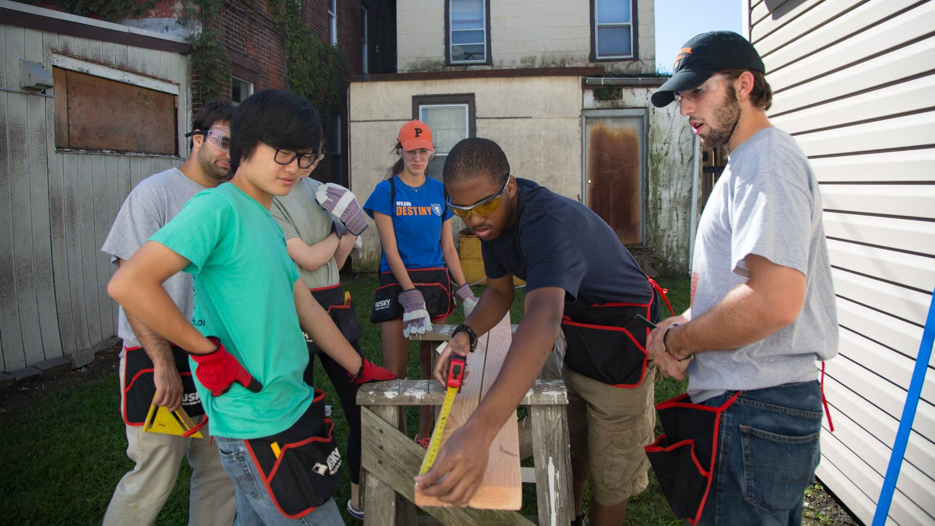 Students at a Habitat for Humanity site