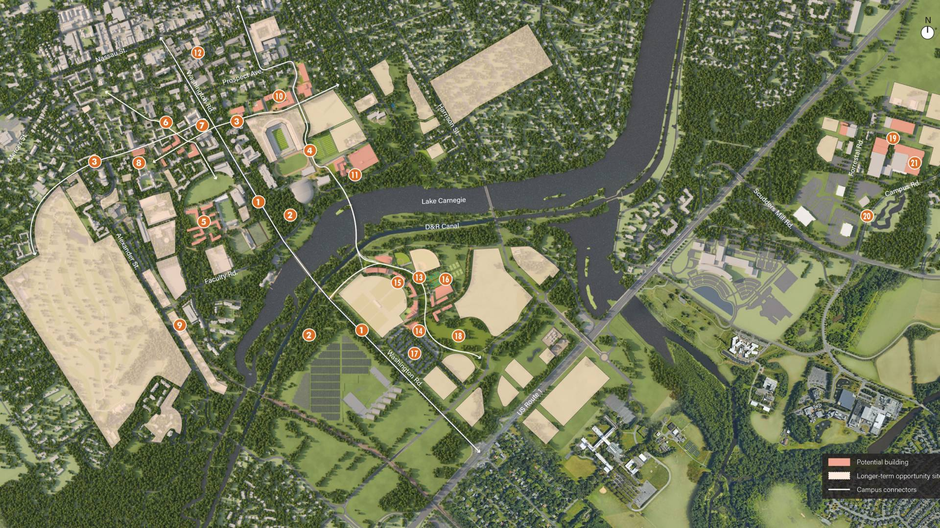 Map of potential projects in campus plan