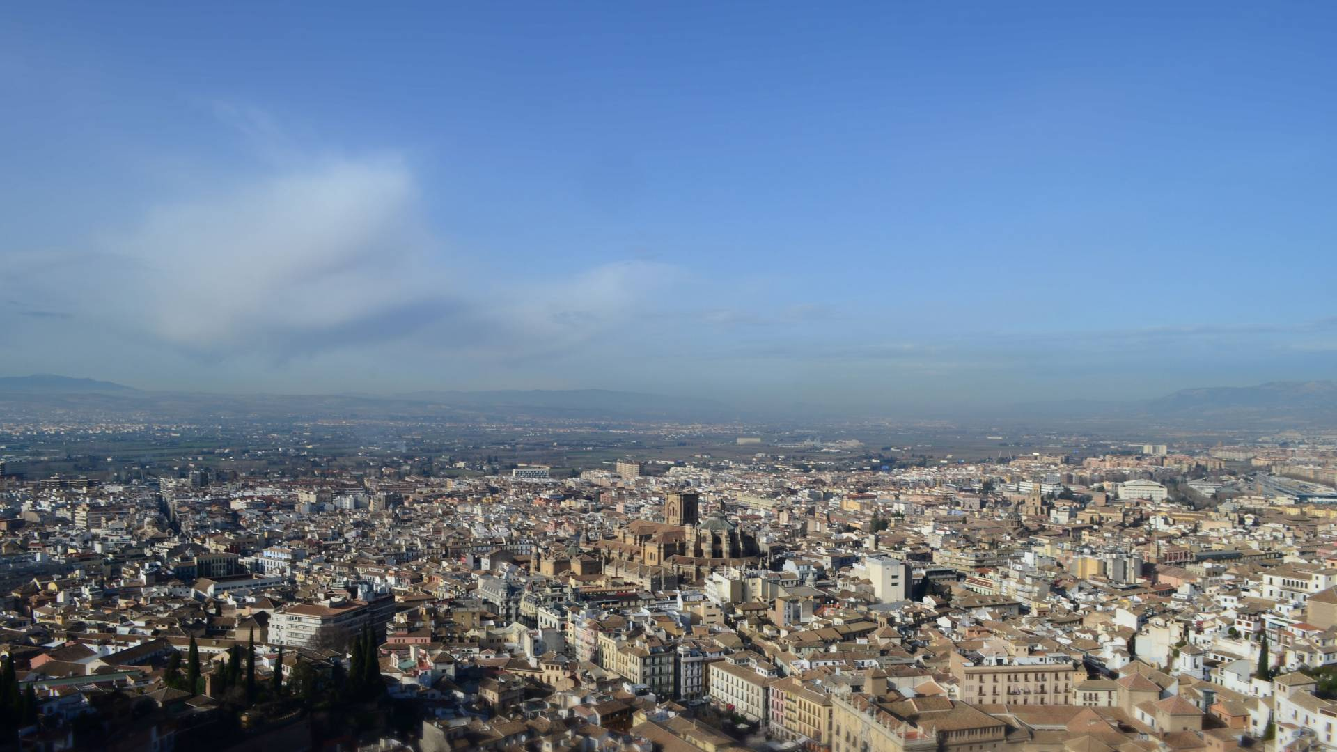 View from tallest tower of Granada's Alhambra Palace