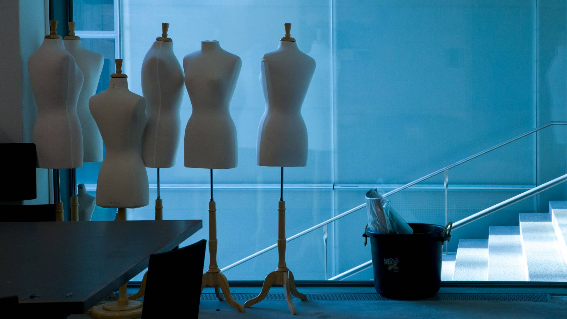 Empty dress forms at Lewis Center for the Arts