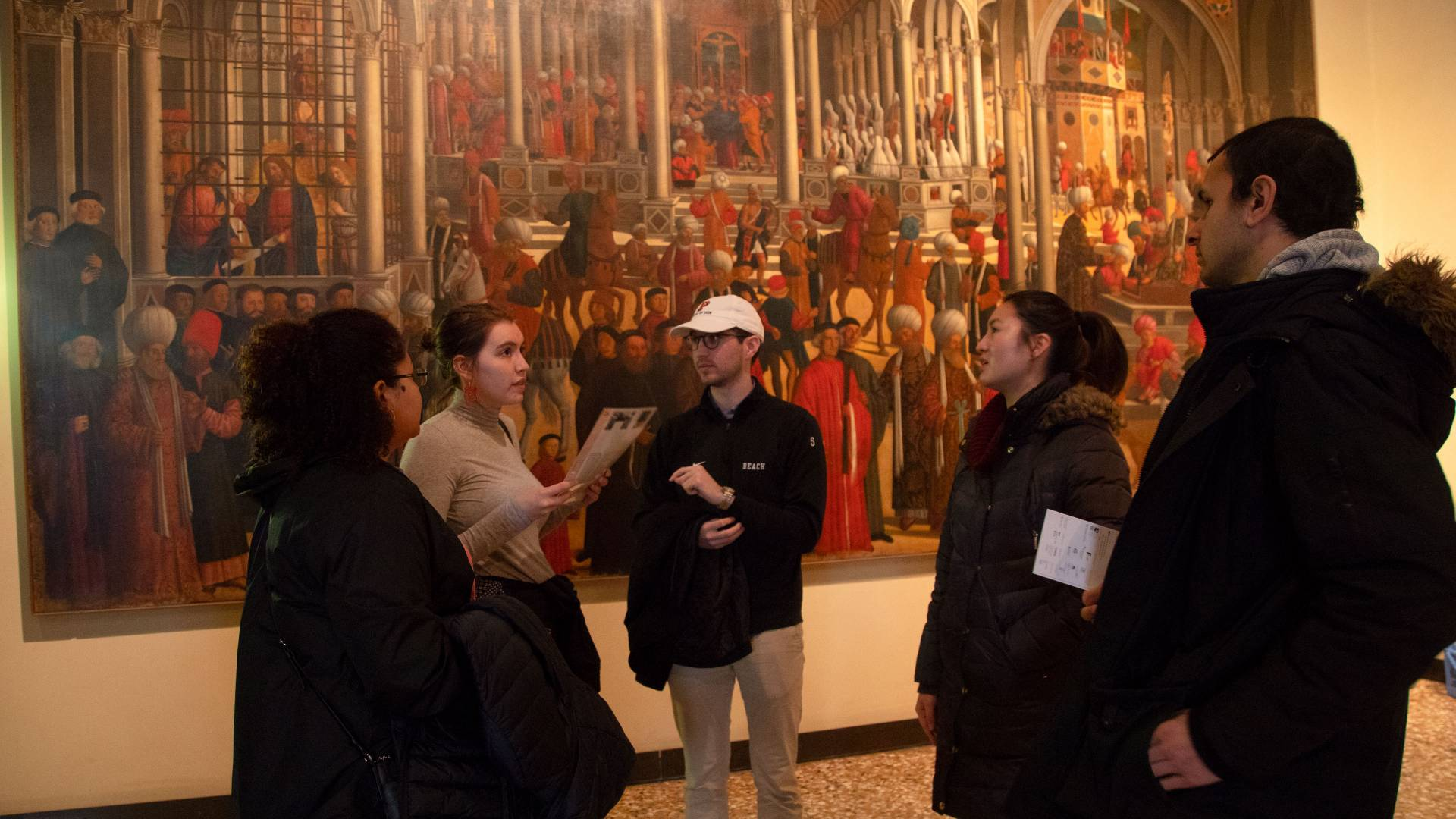 Sofie Feist with students at Gallerie dell'Accademia in Venice