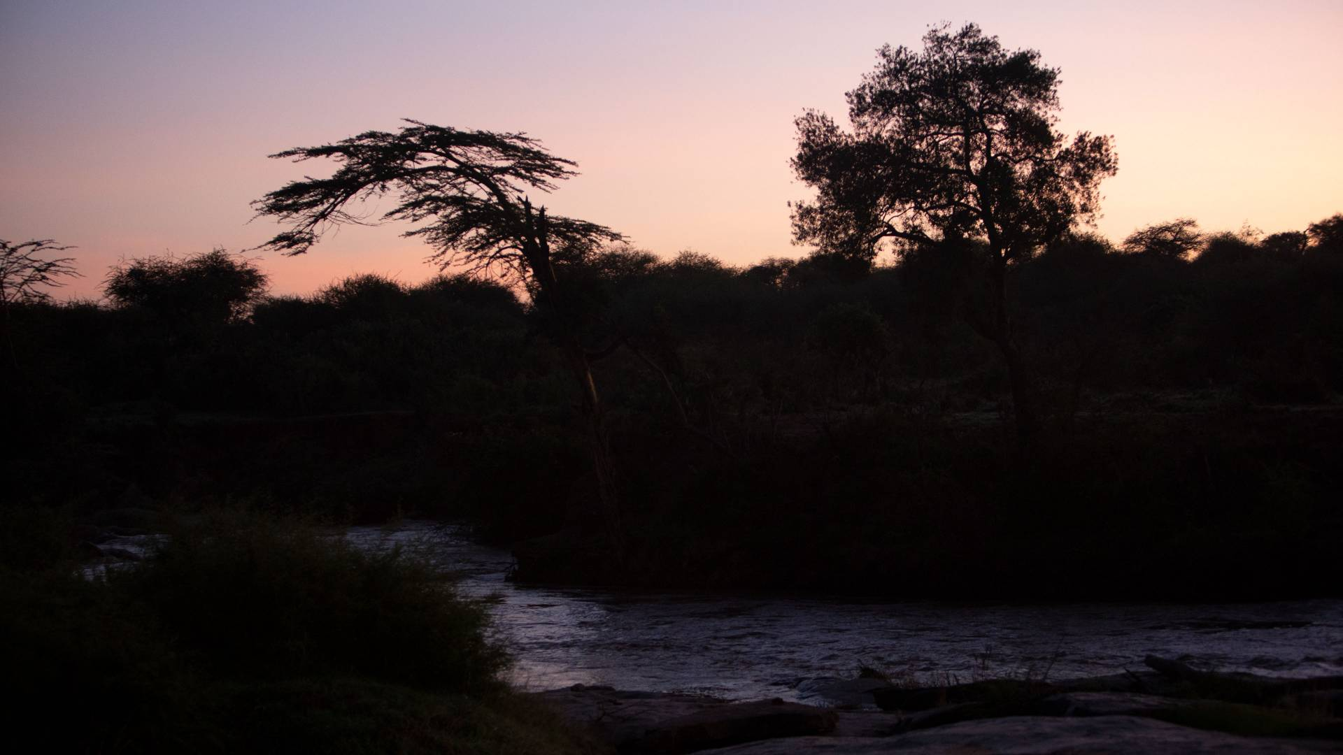 Sunrise over river at Mpala