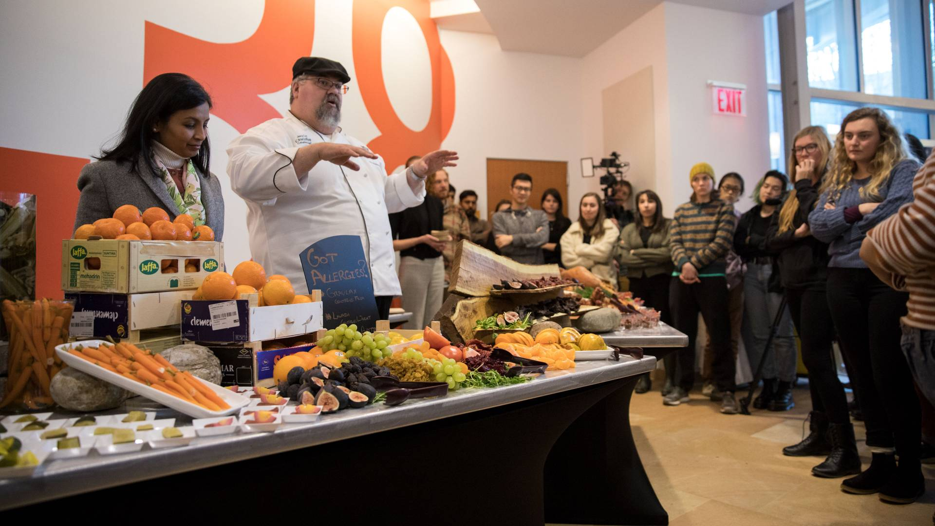 Chef doing demonstration for students