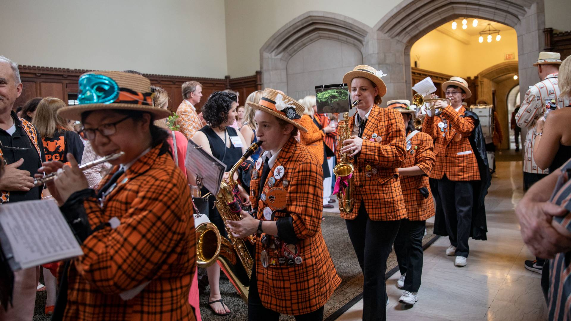 Princeton University Band marching through reunions reception