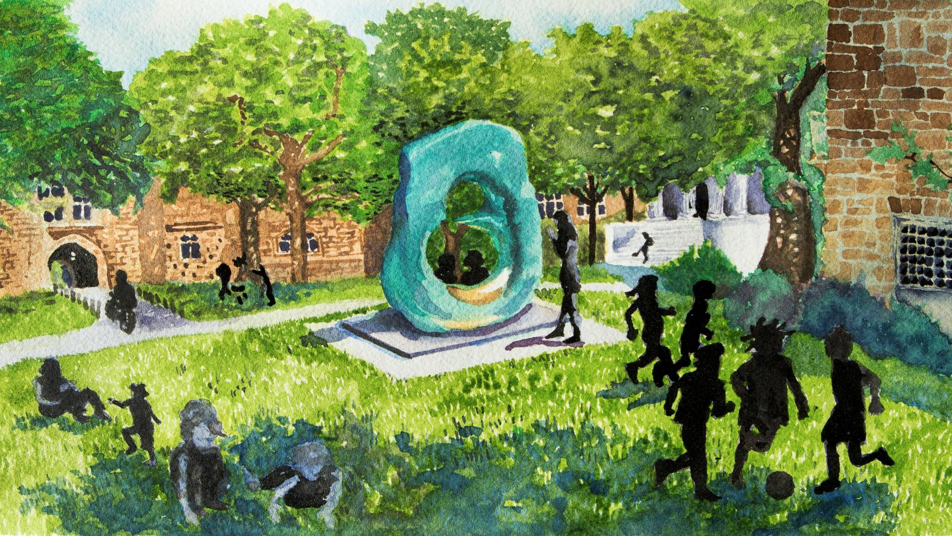 Watercolor of children playing on campus near Oval with Points statue