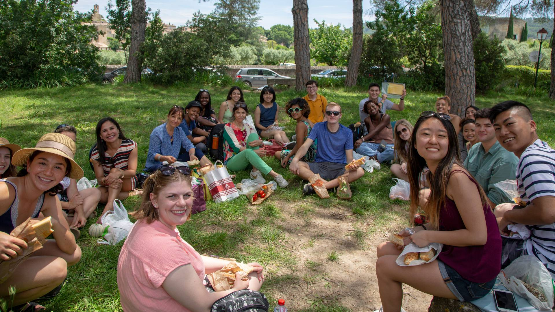 Students and faculty having picnic in France