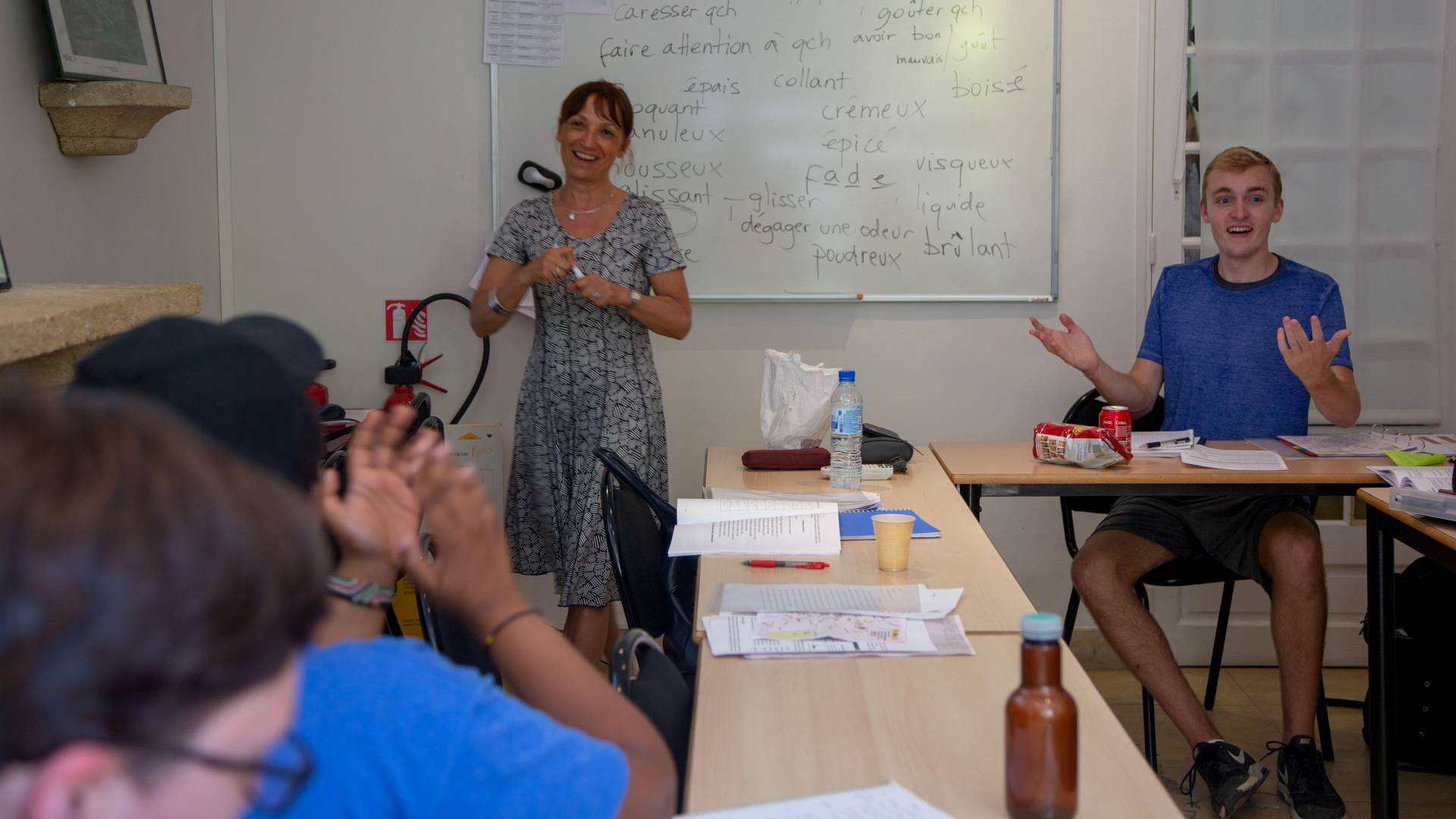 Students taking language immersion class at Aix-en-Provence language institute in France
