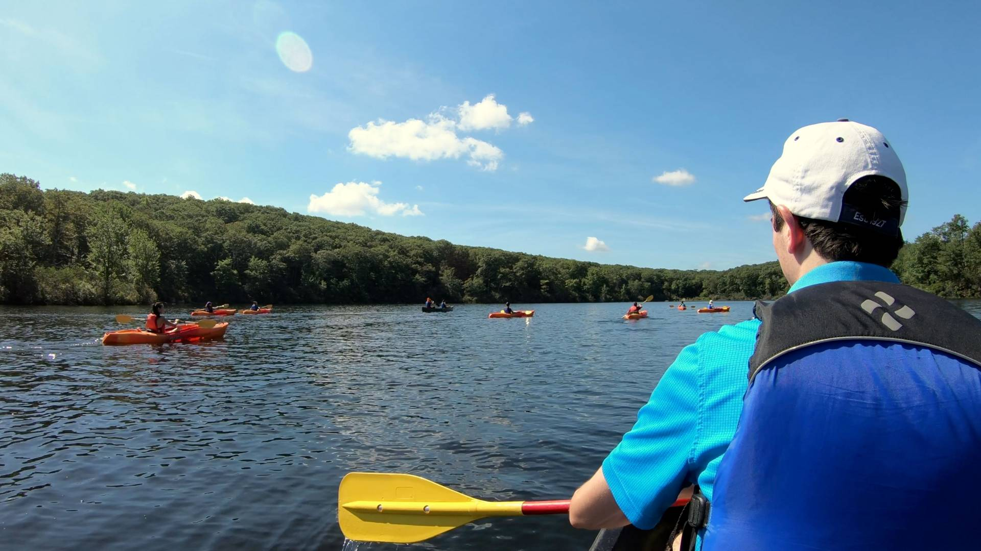 Students canoeing and kayaking on lake in Harriman State Park
