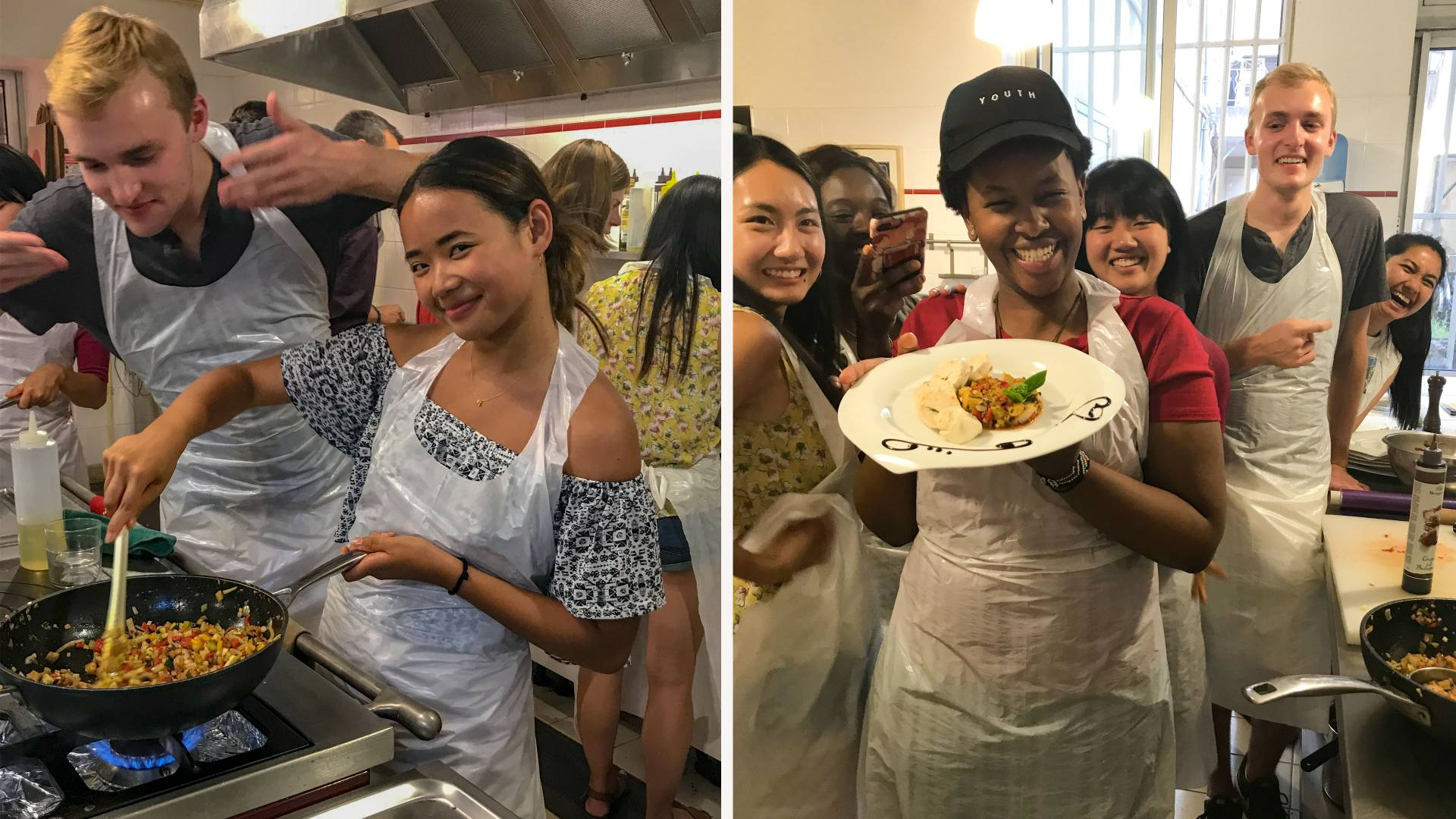 Split screen of students cooking in France