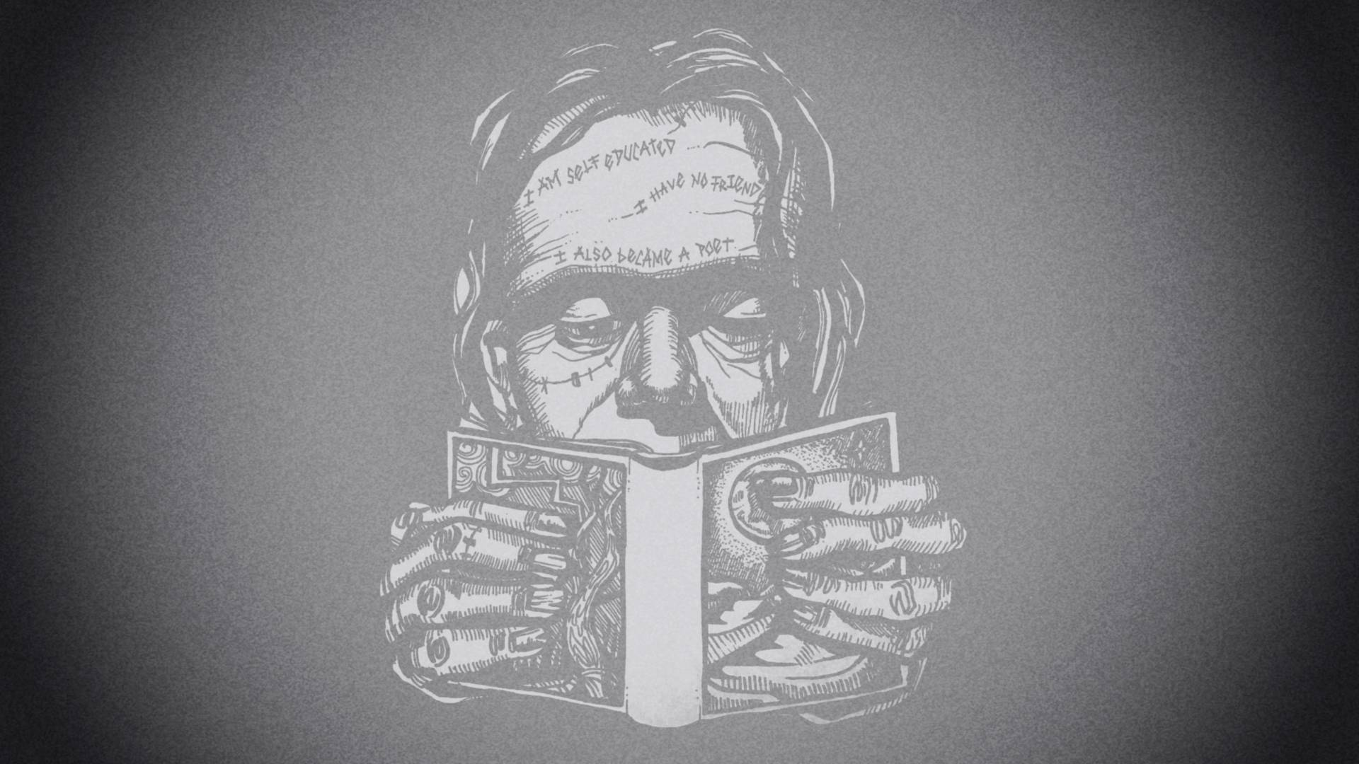 Illustration of Frankenstein reading a book