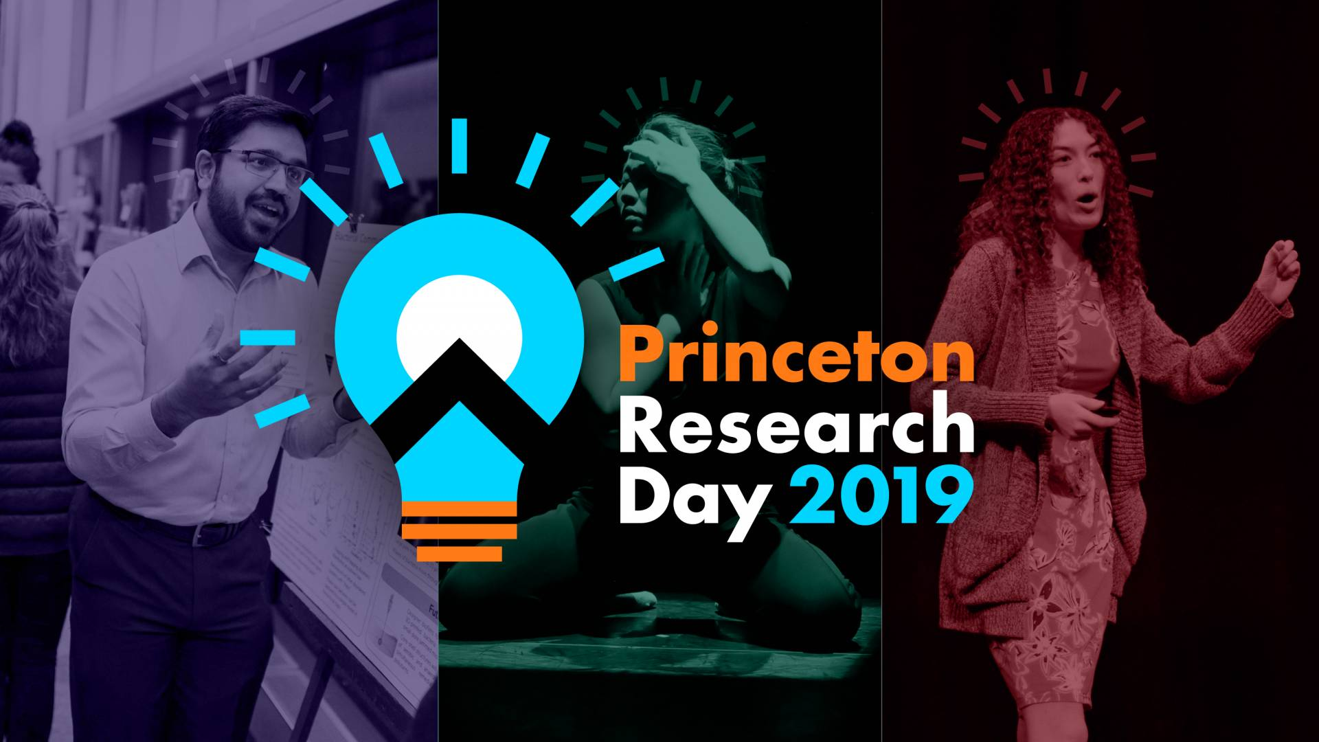 Three images of presenters with the Princeton Research Day 2019 logo overlaid on top of them