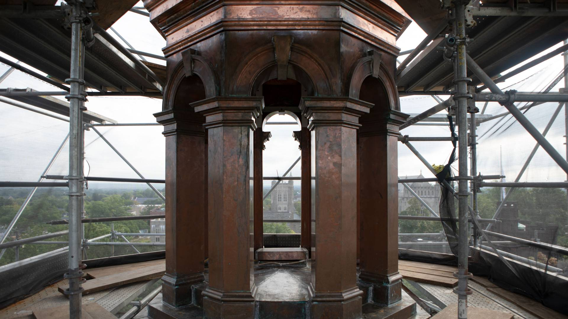 New copper on columns on Nassau Hall cupola