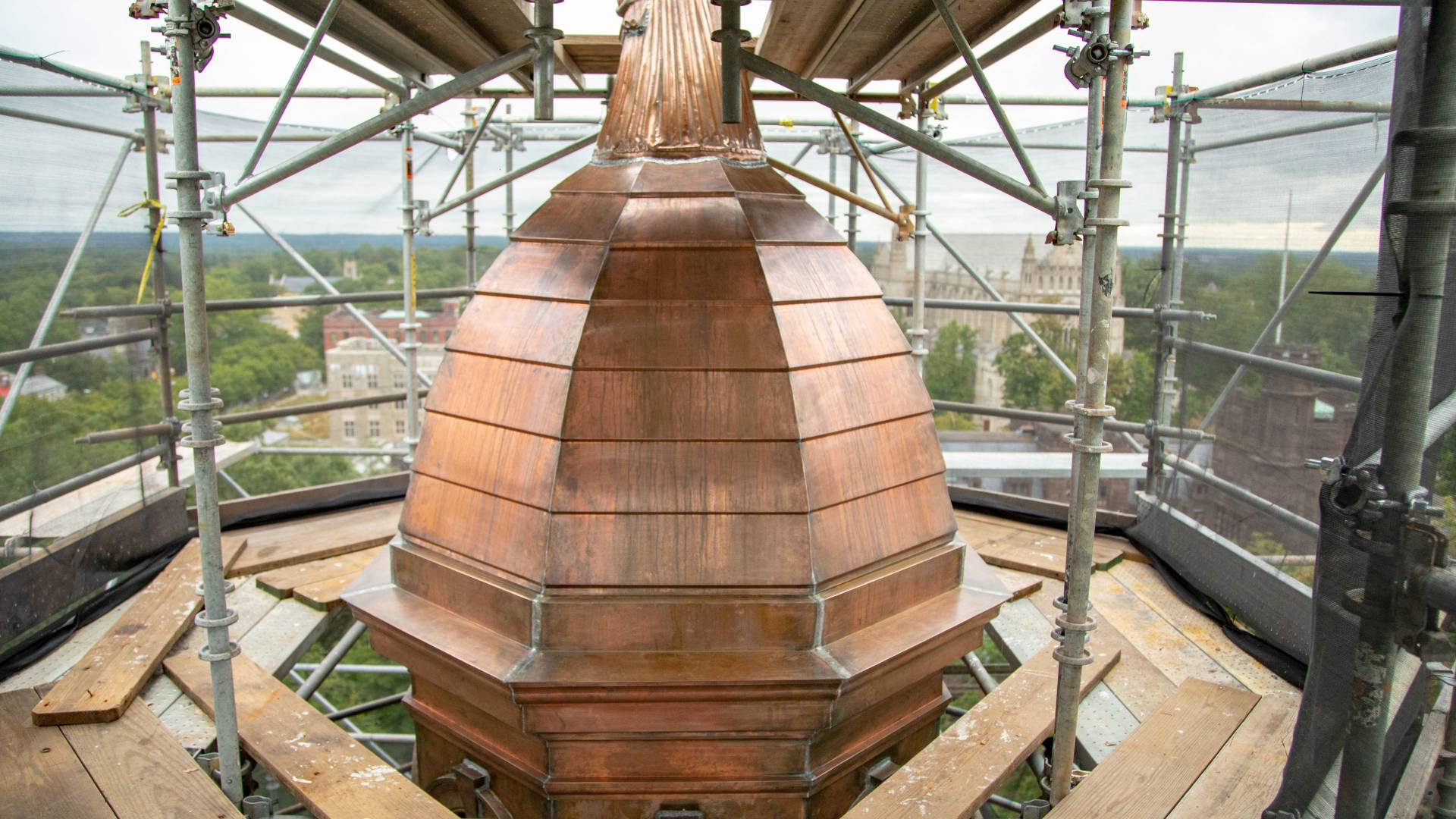New copper on dome of Nassau Hall cupola