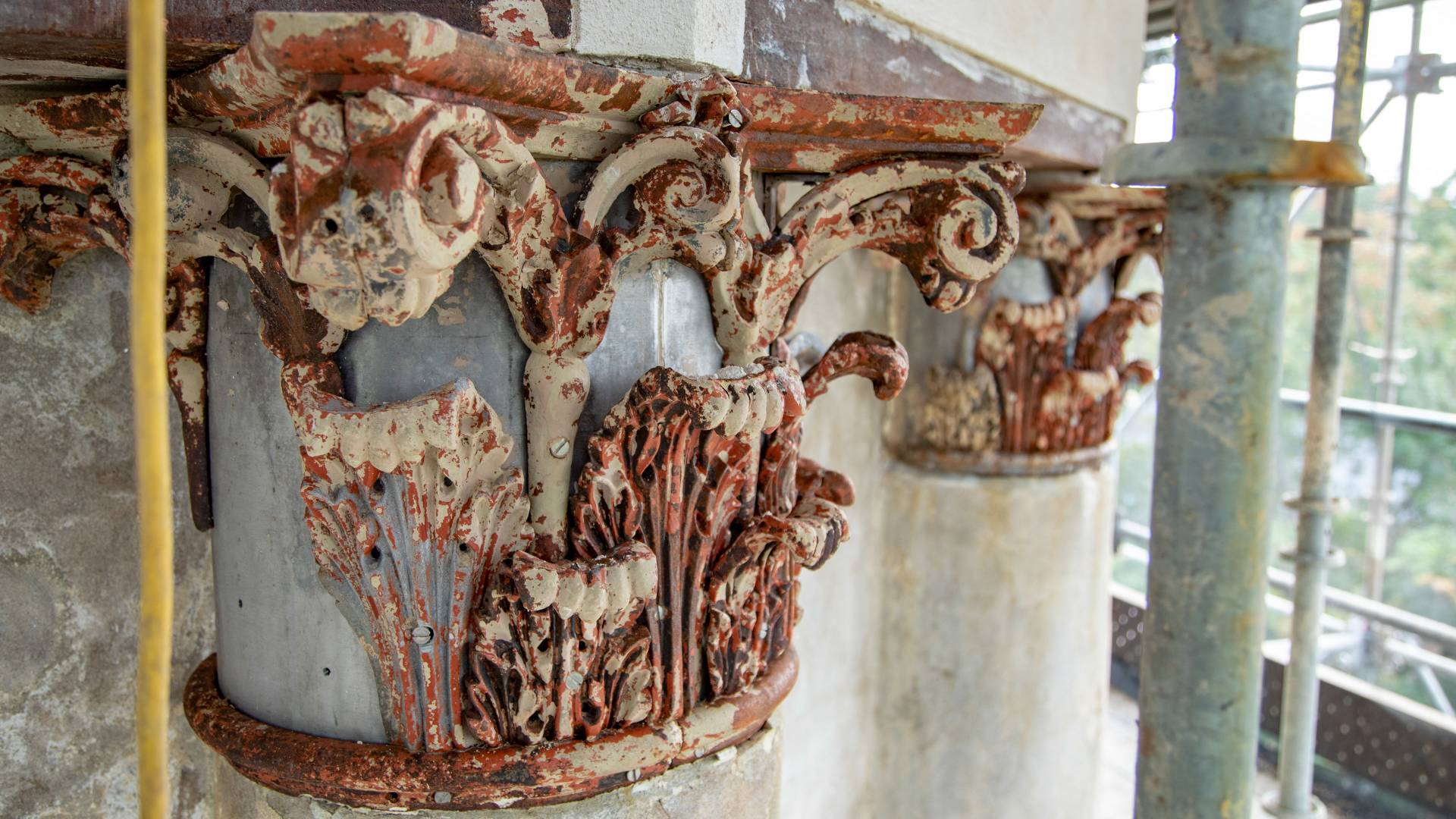 Rusted decorative top of column from Nassau Hall cupola