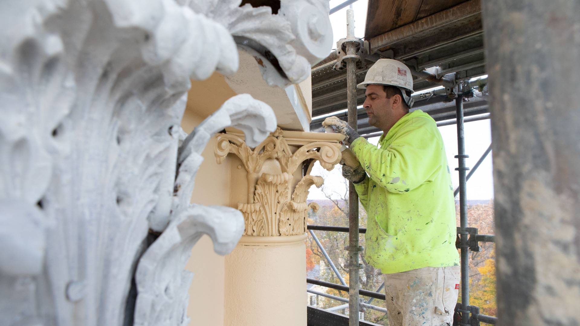 Working painting columns on Nassau Hall cupola