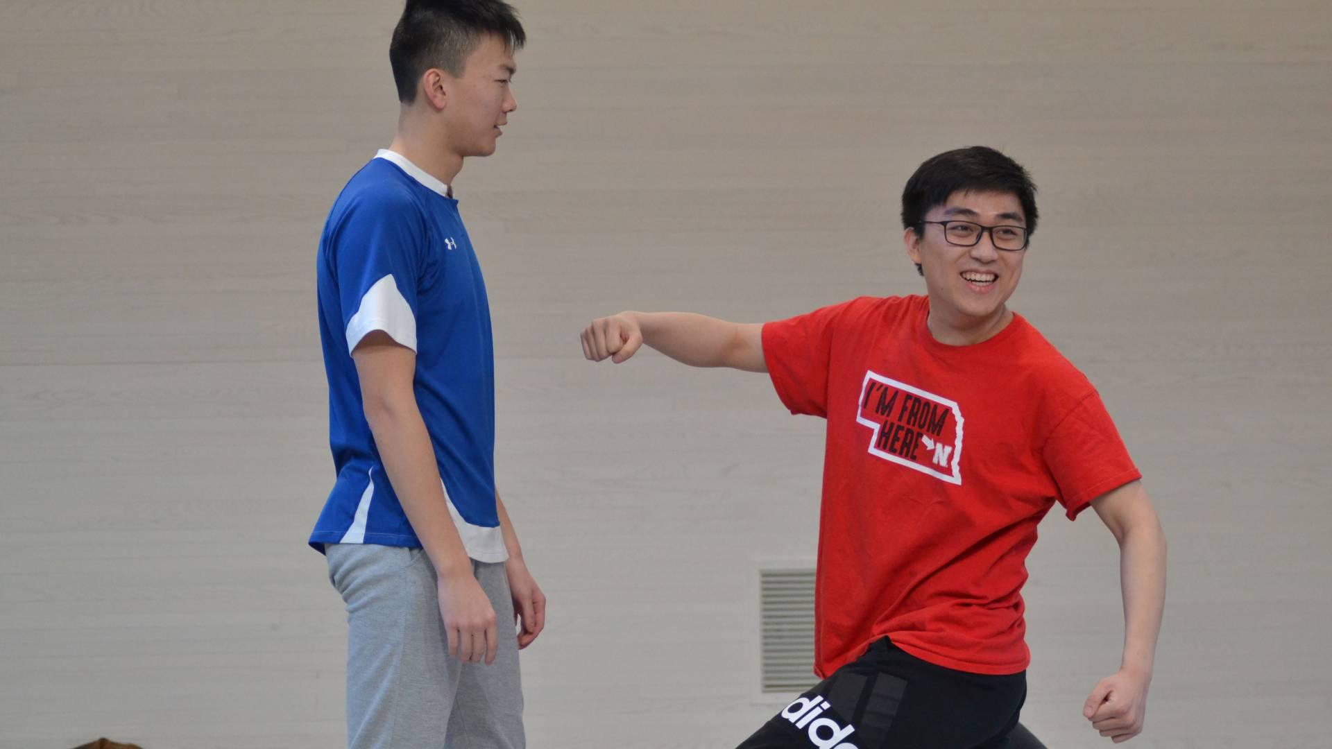 Students practicing unarmed stage combat during wintersession