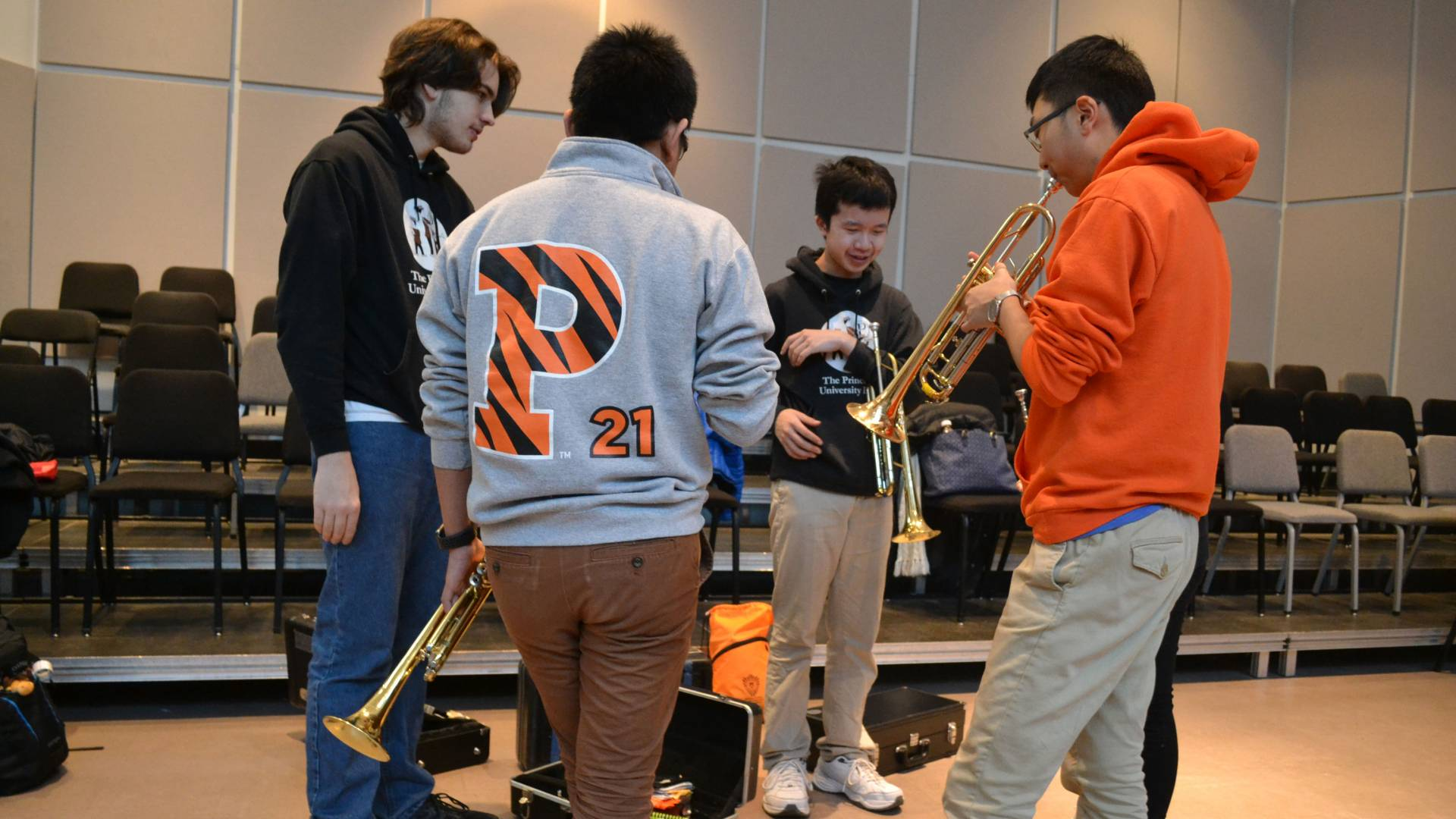 Students with wind instruments during Learn to Play an Instrument with the Band class