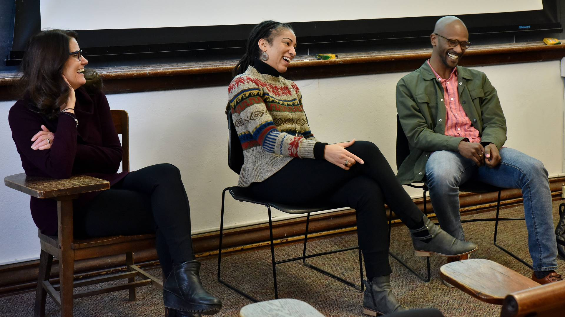 Susanne Killian, Ruha Benjamin and Sama Ahmed speaking to students during Wintersession class