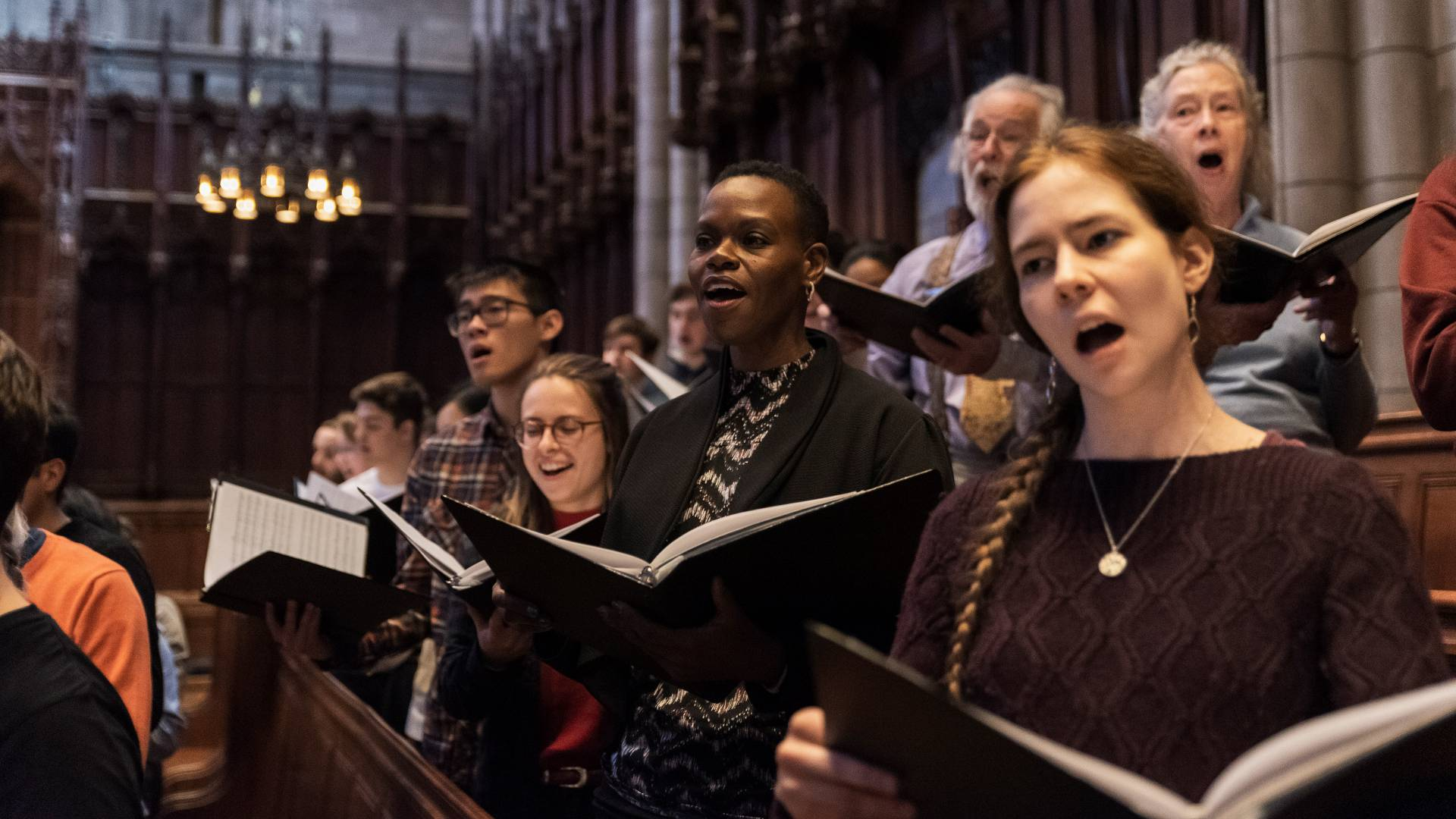 Members of Princeton Chapel Choir singing