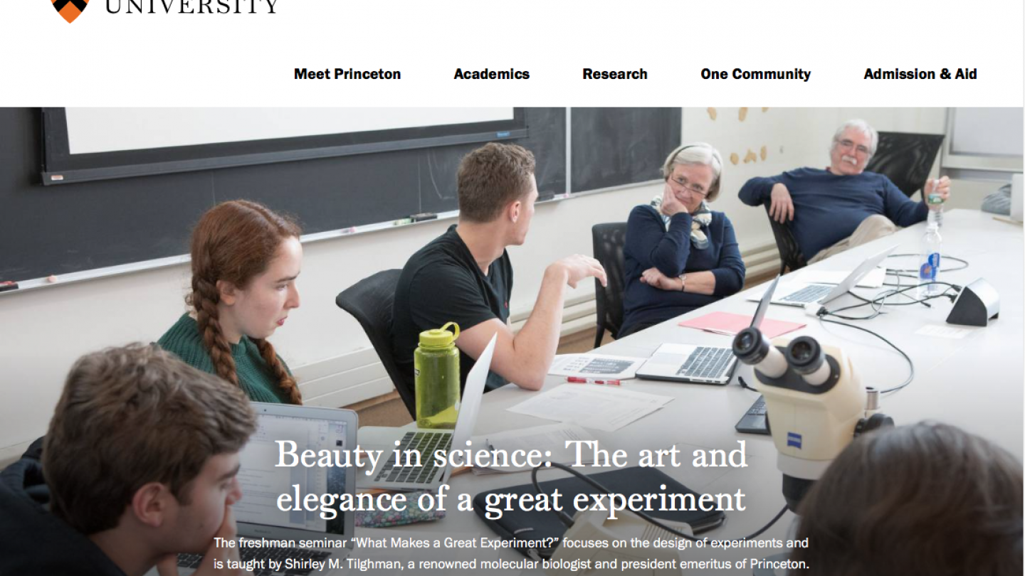 Screen shot of the top of the homepage on the new Princeton.edu design.