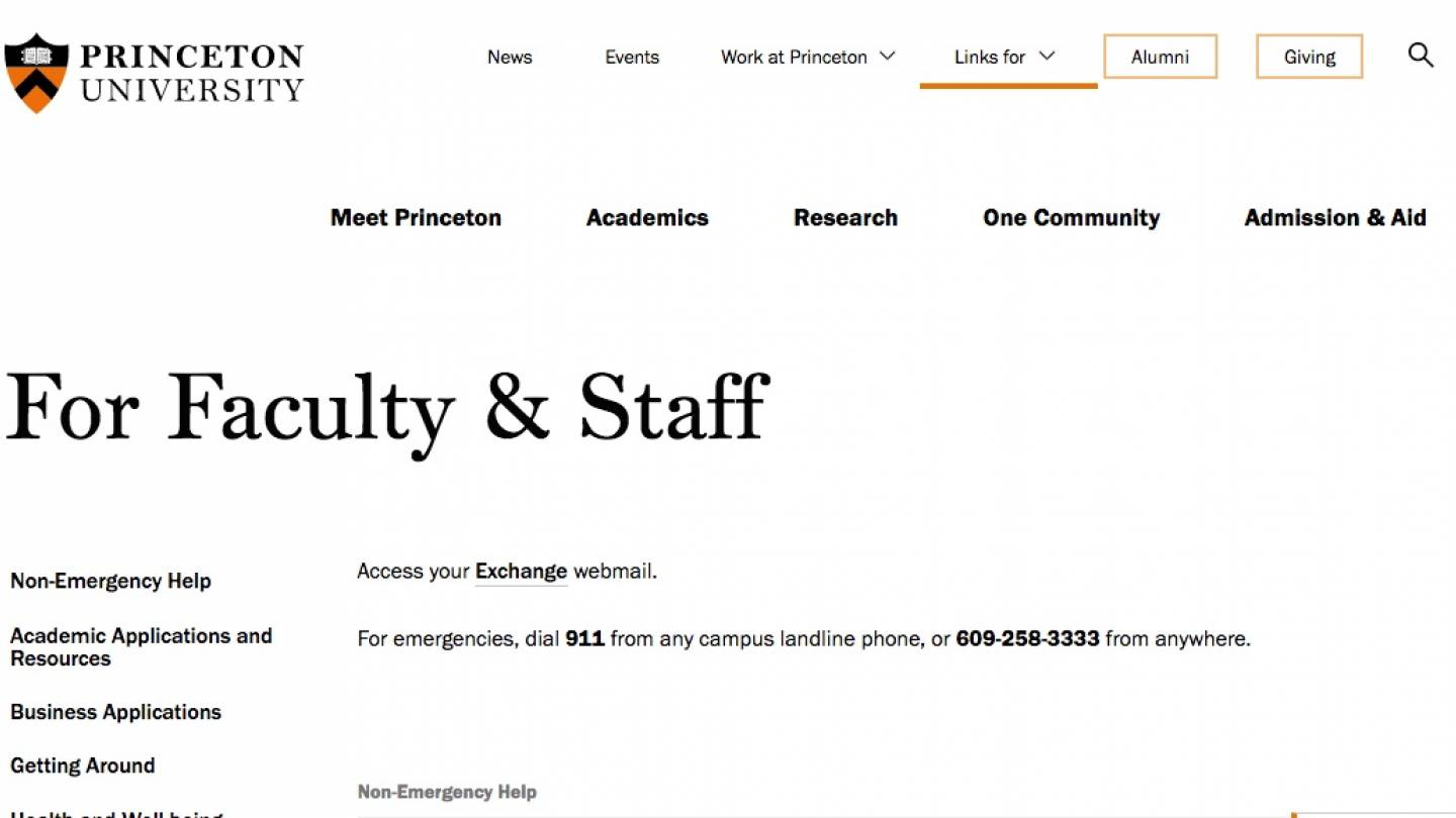 Screenshot showing new Princeton Faculty & Staff landing page