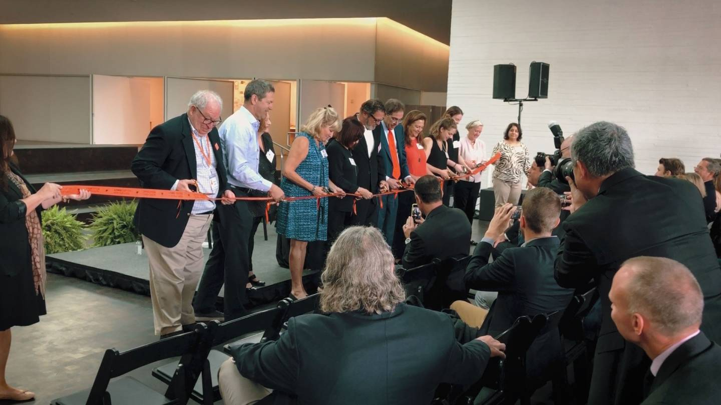 Ribbon cutting ceremony for opening of Lewis Arts complex