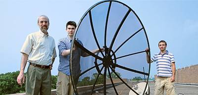 Students with satellite dish