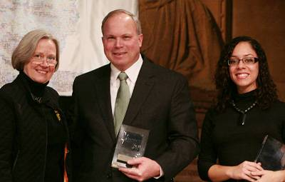 Princeton President Shirley M. Tilghman presented MLK Day Journey Awards to John Templeton and Anna Almore