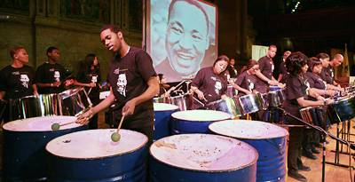 Members of the CASYM Steel Orchestra of New York performed musical selections
