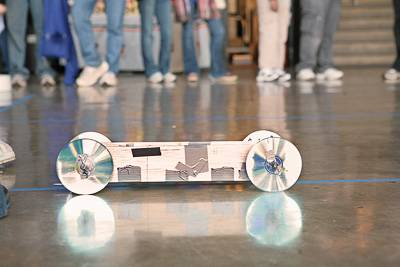 Self propelled car in motion