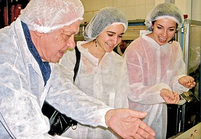 Students in a chocolate factory