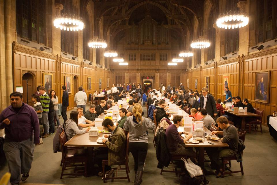 Graduate students eating in Proctor Hall
