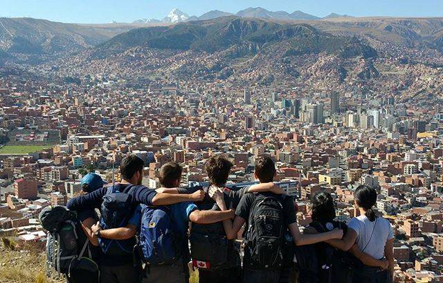 Students look over a city while travelling abroad