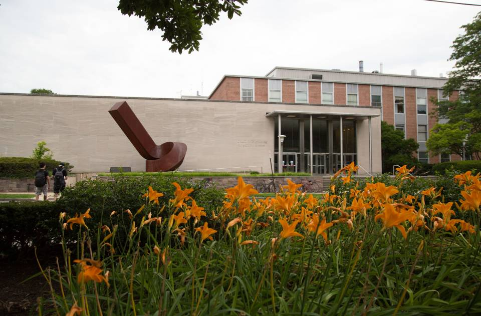 Exterior view of the engineering school, with orange flowers in the foreground.