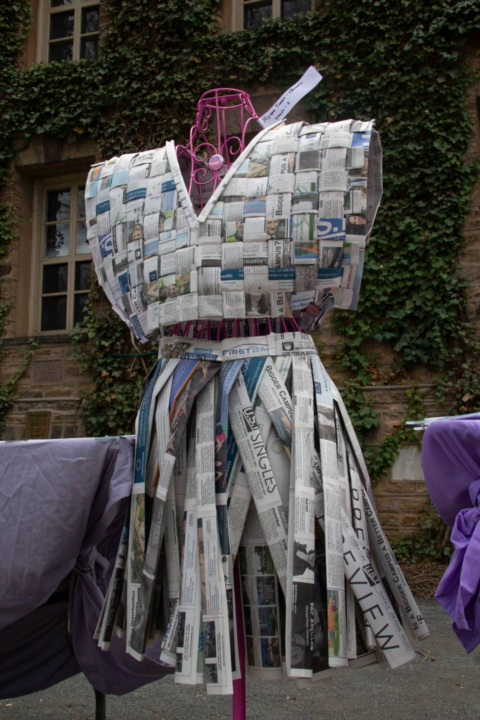 Dress made from weaving old newspapers