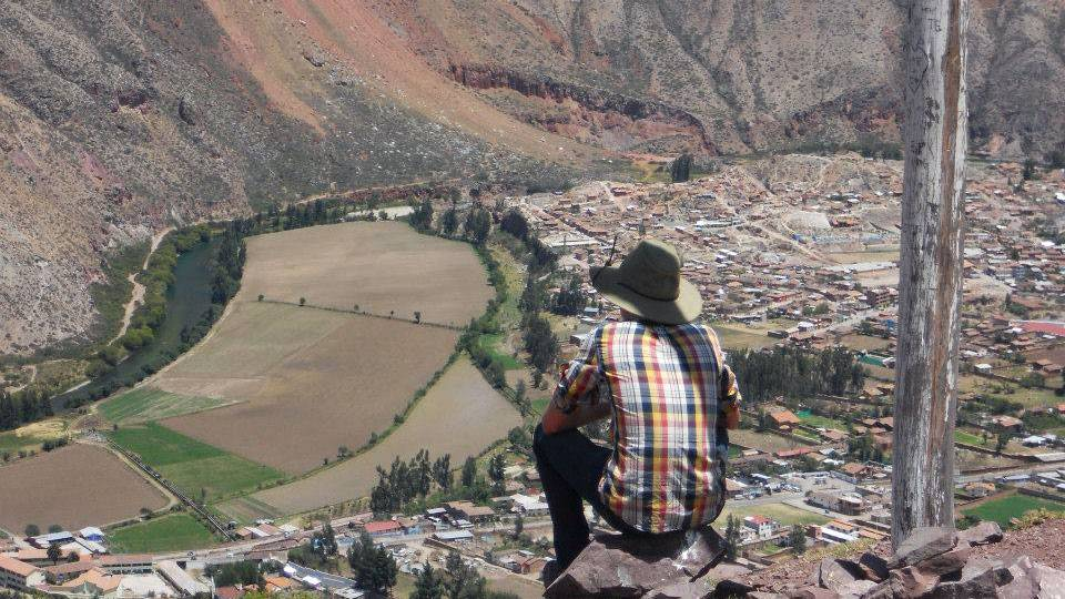 Kyle overlooking valley in Urubamba, Peru