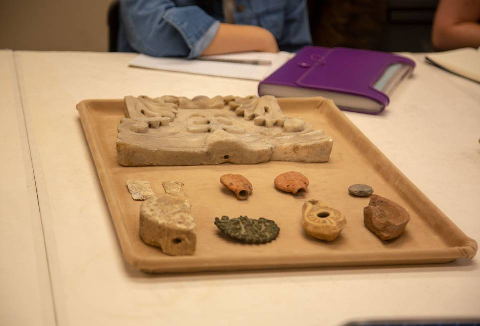 Tray of ancient artifacts from Art Museum