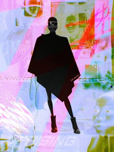 silhouetted person in a poncho