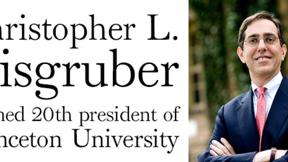 Christopher L  Eisgruber named 20th president of Princeton